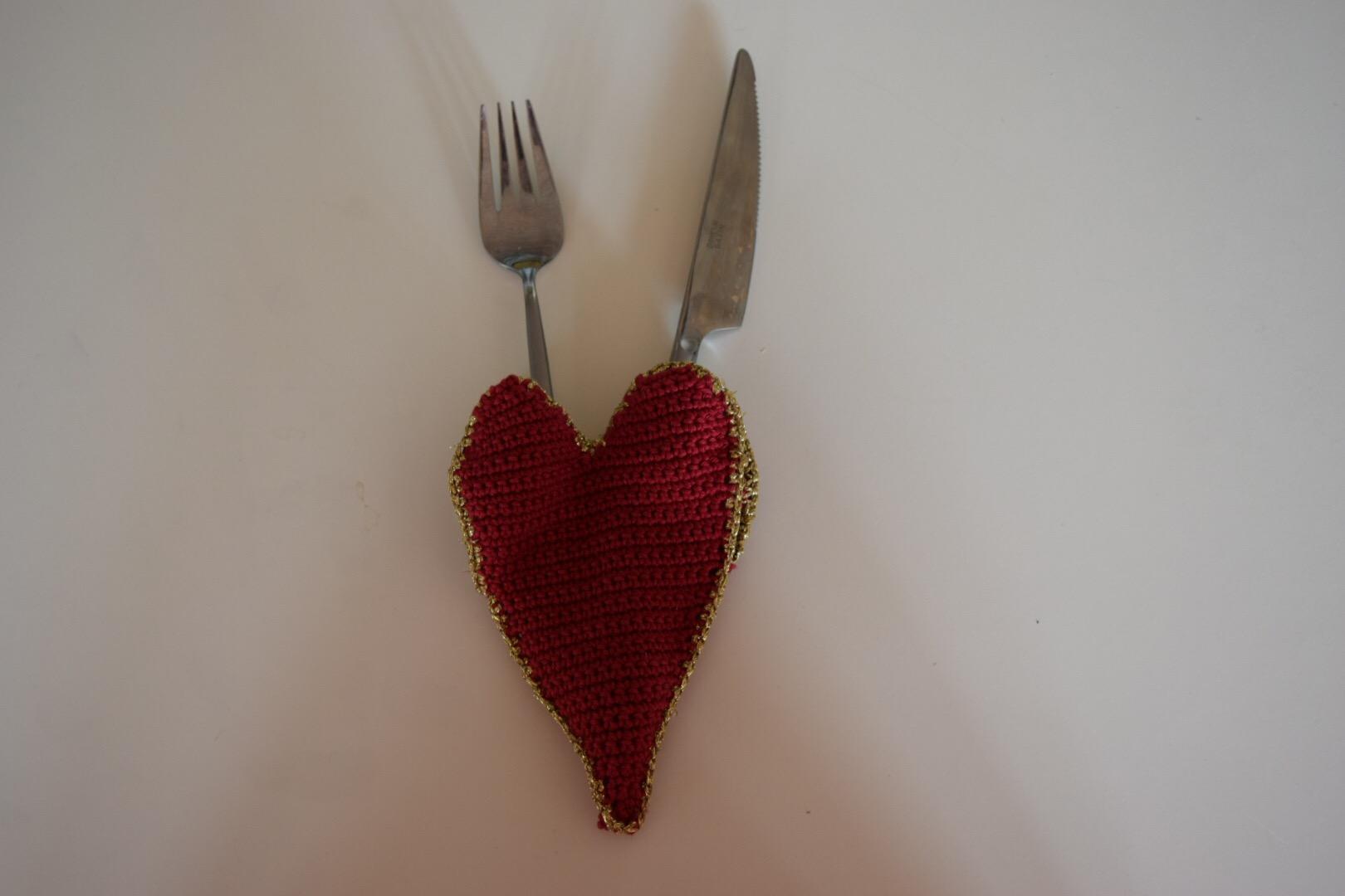 Hæklekit Hjerte til Bestik