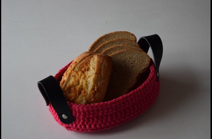Hækleopskrift brødkurv med håndtag