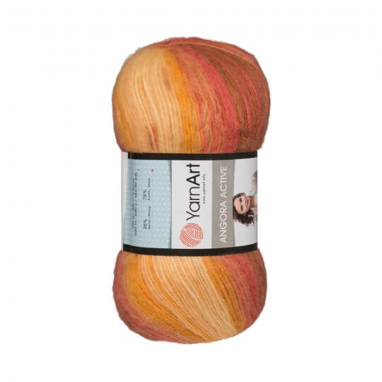 Image of   Angora Active mohair garn 100 gram med farveskift Bordeaux, orange, white 844