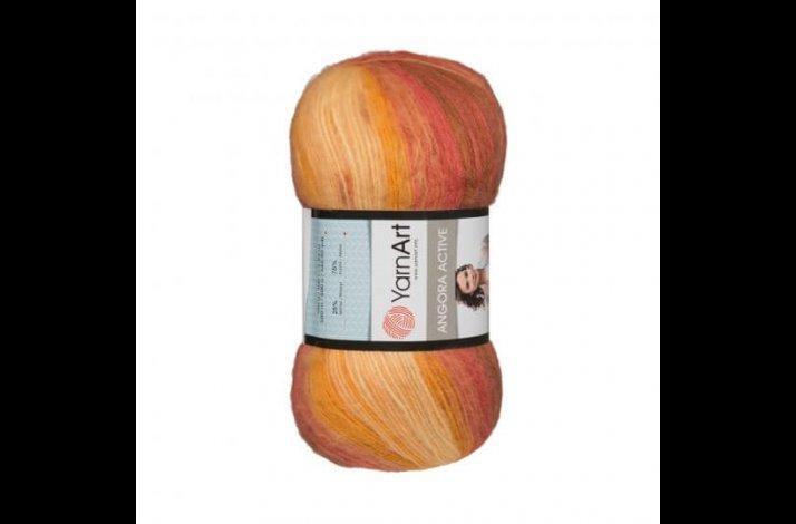 Angora Active mohair garn 100 gram med farveskift Bordeaux orange white 844