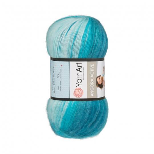 Image of   Angora Active mohair garn 100 gram med farveskift White, blue, petrol 845