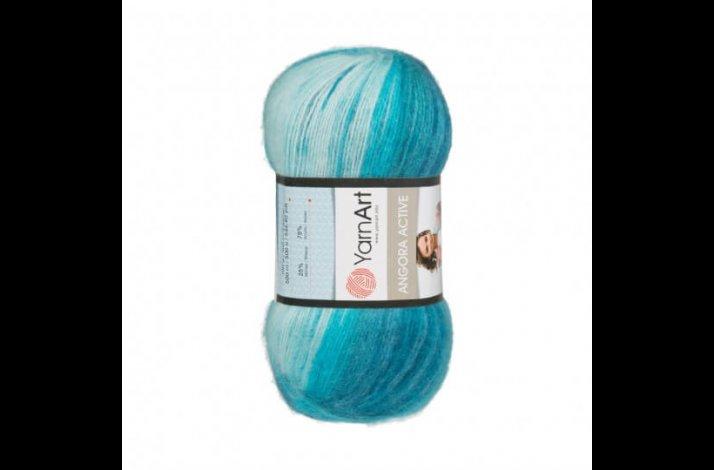 Angora Active mohair garn 100 gram med farveskift White, blue, petrol 845