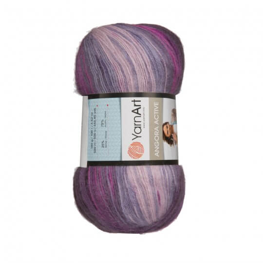 Image of   Angora Active mohair garn 100 gram med farveskift Grey, purple, magenta 848
