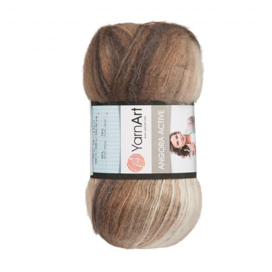 Image of   Angora Active mohair garn 100 gram med farveskift Beige, brown, black 849
