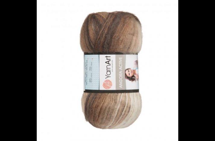 Angora Active mohair garn 100 gram med farveskift Beige, brown, black 849