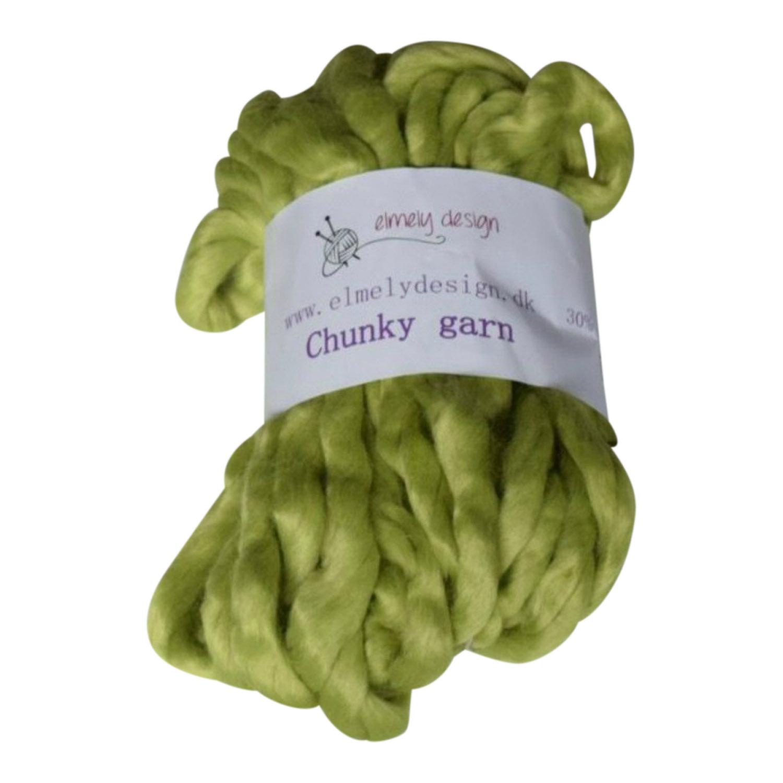 Chunky mega garn 40 cm Groen gul