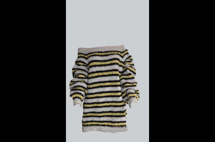 Strikkekit stribet off shoulder pullover