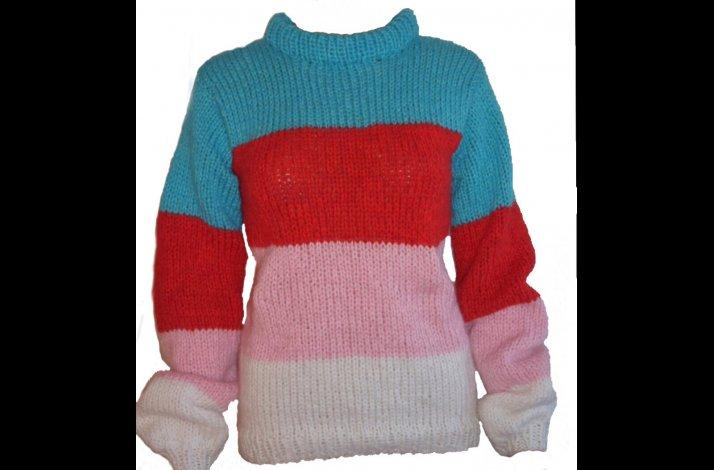 Garnpakke sweater brede striber home made modestrik