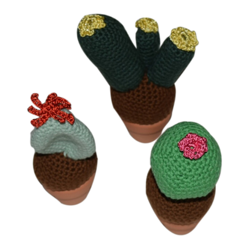 Hæklekit Mini Kaktus i Potte 3 stk