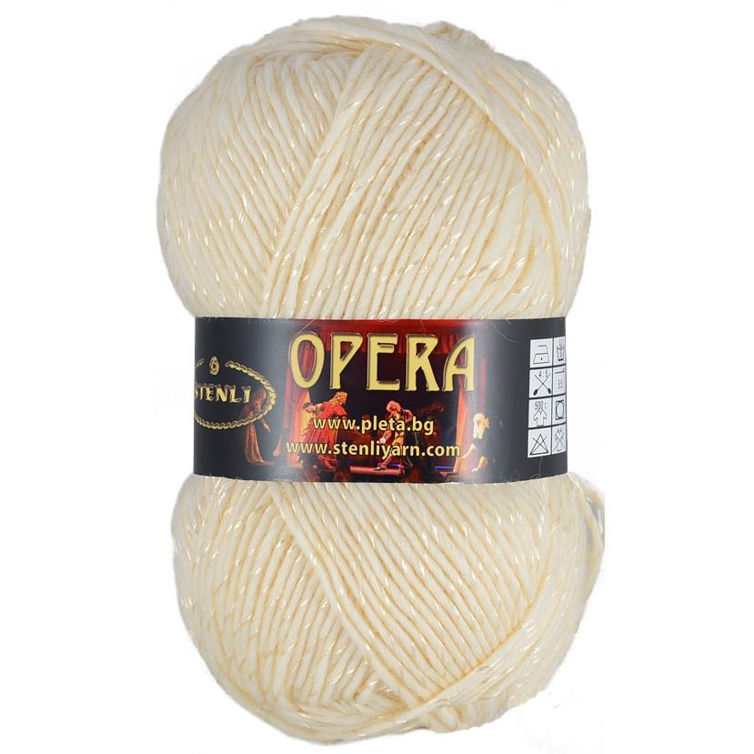 Opera merino uld & silke glans 100 gram Råhvid 01