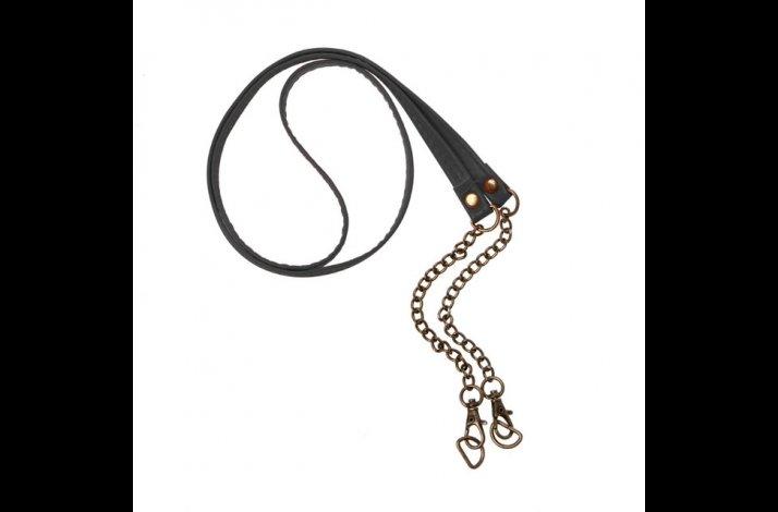 Rem / håndtag i faux læder og kæde til taske ca 120cm