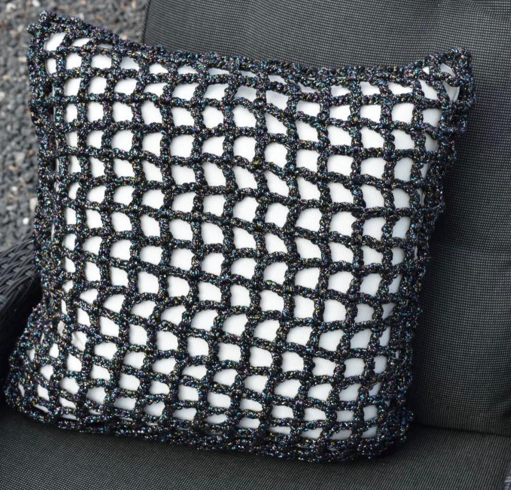 Pude firkantet ribbon hæklekit med glimmer lurex multi lurex