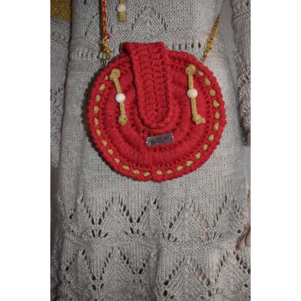 Hæklet rund Taske i ribbon med med guldsnor
