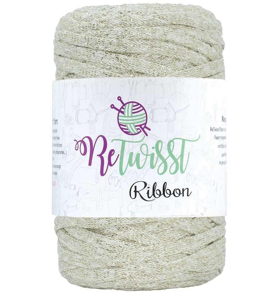 Image of Retwisst Ribbon lurex Garn Knækket hvid glimmer L07
