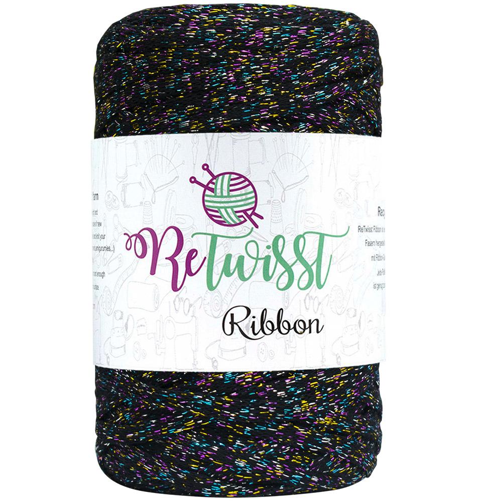 Image of Retwisst Ribbon lurex Garn Sort multifarvet glimmer ML02