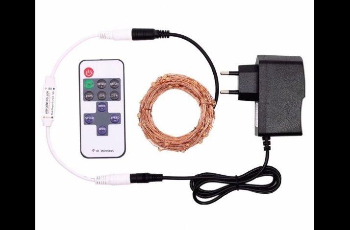 Led lyskæde vejrbestandig kobberfarvet ledning med fjernbetjening og omformer 20 meter