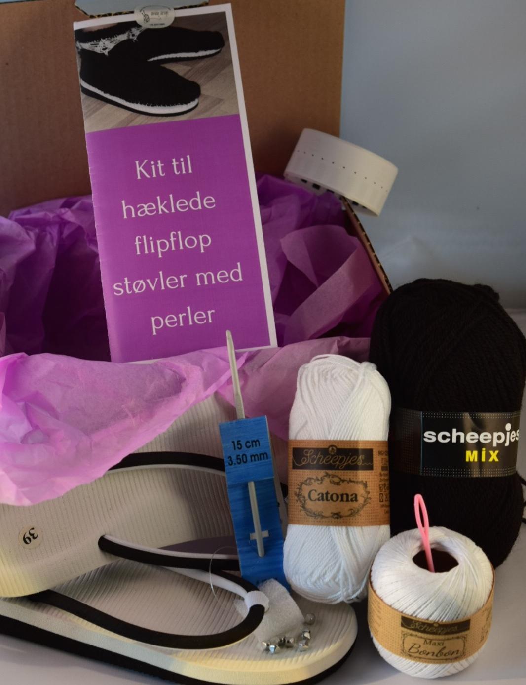 Image of   Hæklekit Flipflop Støvler med Perler