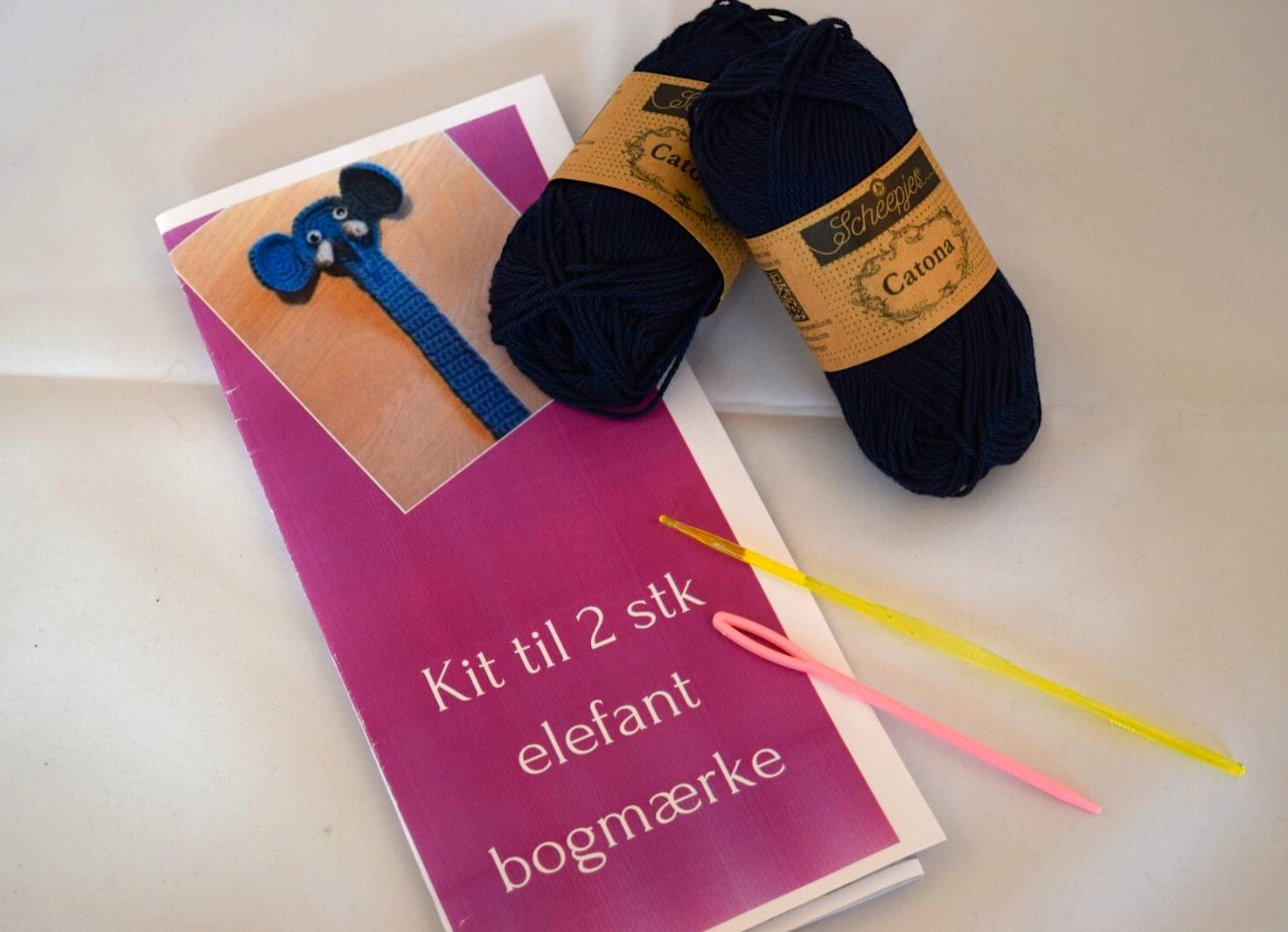 Image of   Hæklekit Elefant Bogmærke 2 stk