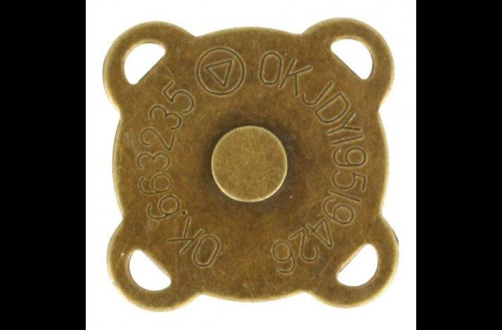 Magnetlås 20 mm i diameter gammelguldfarvet / bronzefarvet