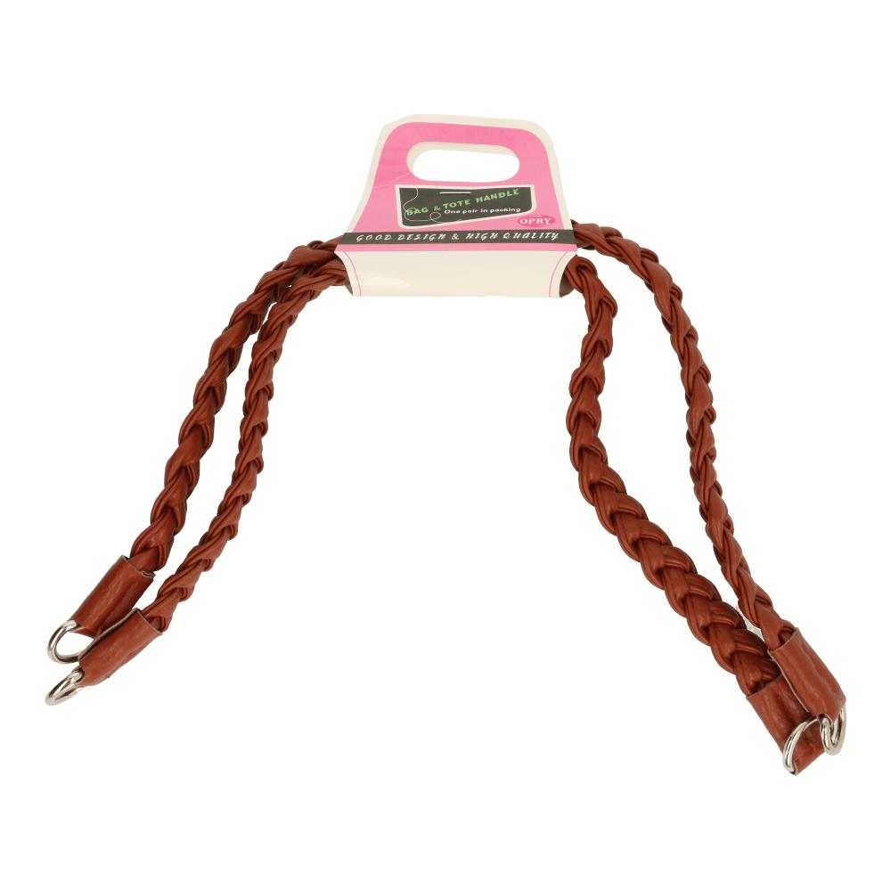 Image of   Håndtag / hanke til taske flettet i læder 52 cm brun