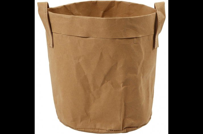 Pose i læderpapir lysebrun
