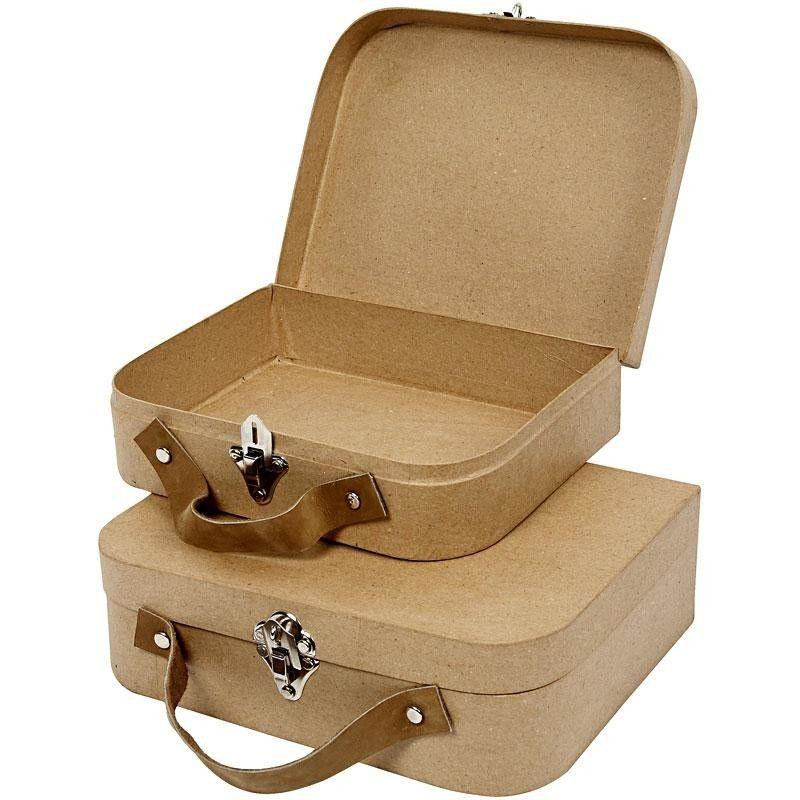 Image of   Kuffertsæt med metalspænder og læderhanke